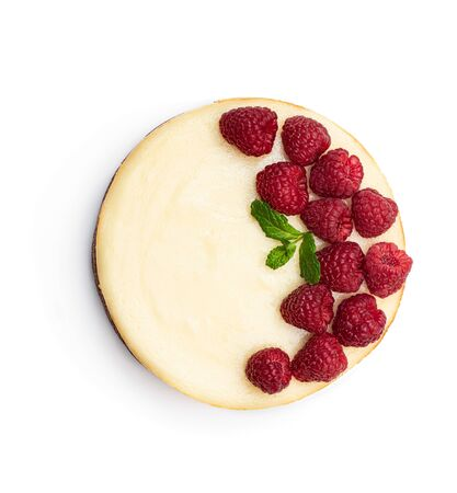 Homemade cheesecake with raspberry isolated on white. Top view