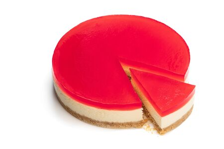 Delicious  cheese cake with jellied layer on top isolated on white
