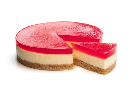 Delicious  cheese cake with jellied layer on top isolated on white  Stock Photo