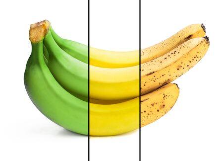 Conceptual image of half ripe banana bunch showing different stages Reklamní fotografie