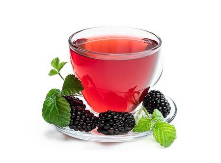 Fresh blackberry tea in glass cup isolated on white Standard-Bild
