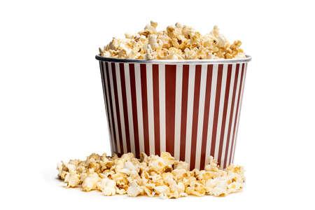 Big bucket of popcorn isolated on white Foto de archivo