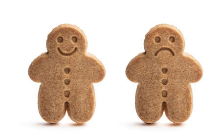 Set of baked gingerbread man cookies isolated on white
