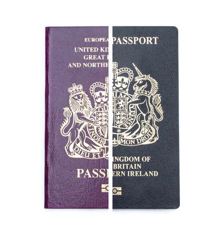 Old burgundy red passport vs new blue post brexit 2021 passport concept