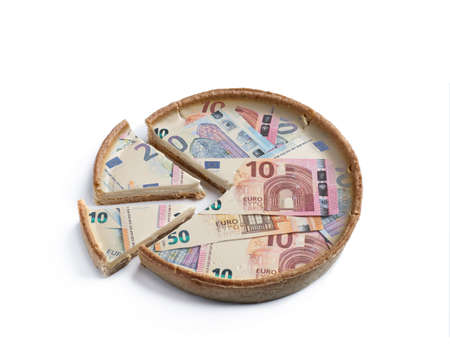Monetary pie concept showing budget items as pieces of the whole