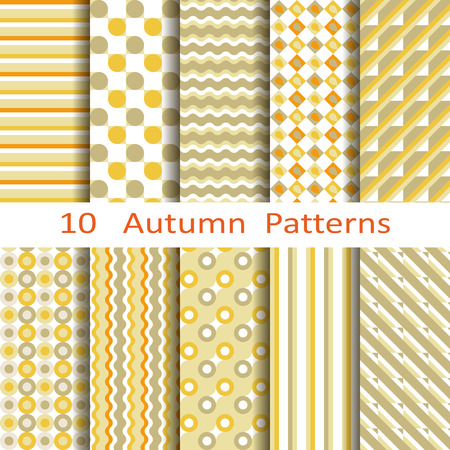 Set of ten autumn patterns Vector