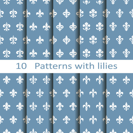 lily flowers set: Set of ten patterns with lilies