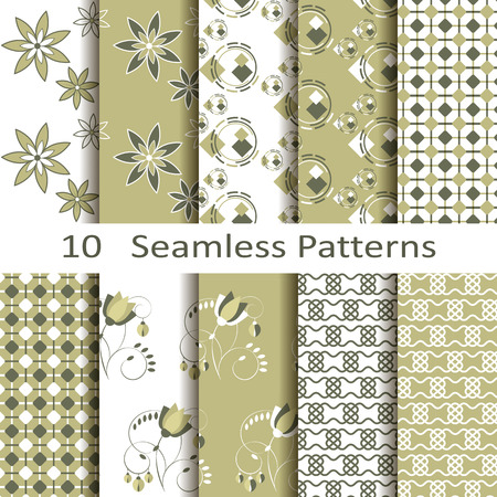 Set of ten seamless patterns