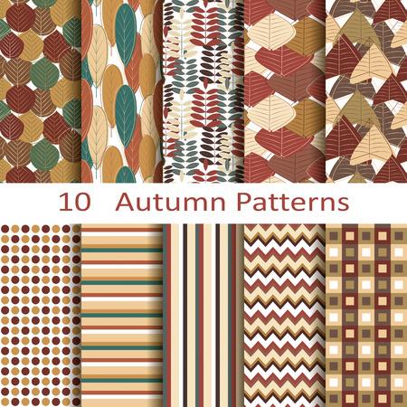 set of ten autumn patterns Vector