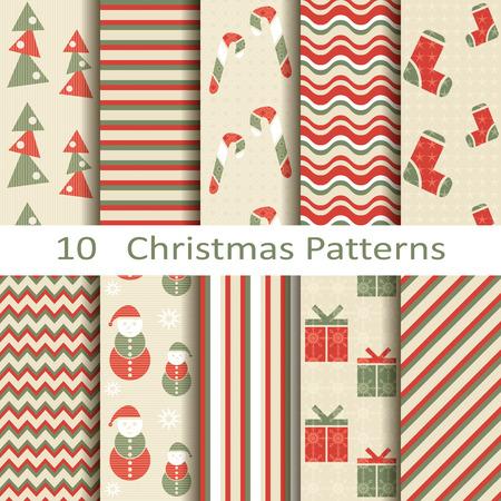 set of ten Christmas patterns Vector