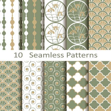 set of ten seamless patterns Stock fotó - 31090491