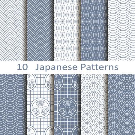 japanese culture: set of ten Japanese patterns