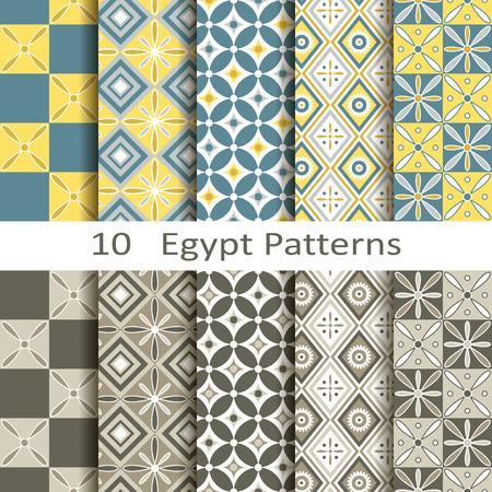 set of ten Egypt patterns Illusztráció