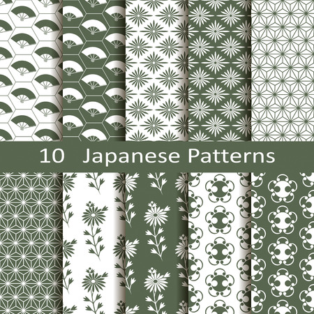 Set of ten Japanese patterns Stock fotó - 32335548