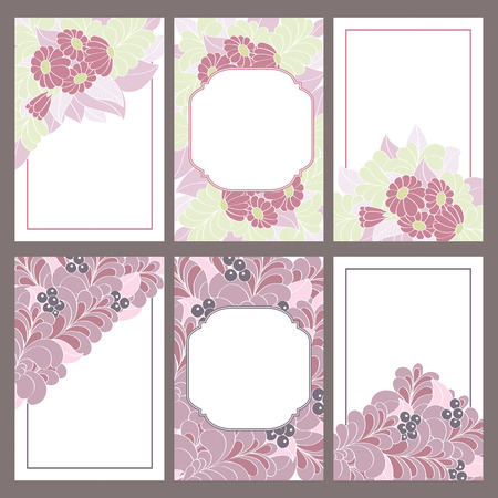 gift paper: Set of six vintage invitation cards decorated with flowers