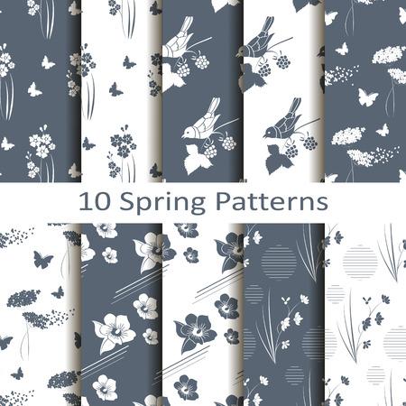 set of ten spring patterns Çizim