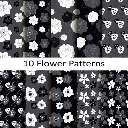 Set of ten classic patterns Illusztráció