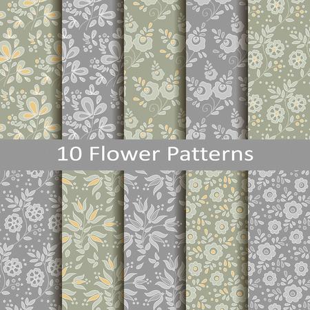 Set of ten flower patterns