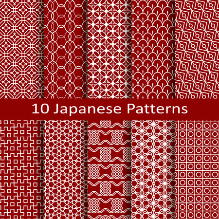 japanese style: Set of ten Japanese patterns