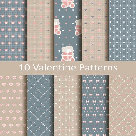 Set of ten valentine patterns
