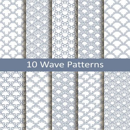 Set of ten wave patterns