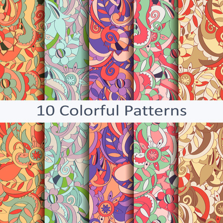 Set of ten colorful patterns