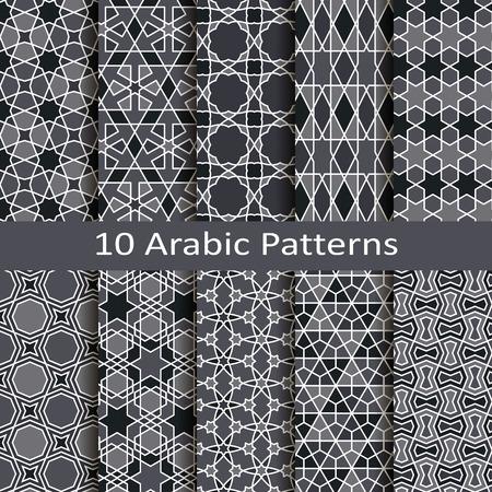 Set of ten arabic patterns Illustration