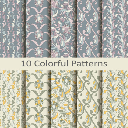 Set of ten colorful patterns Vector