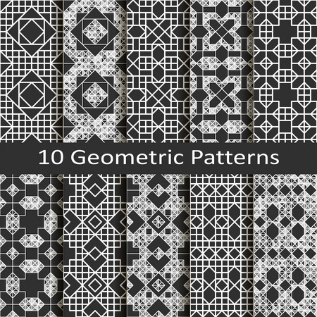 retro patterns: Set of ten geometric patterns