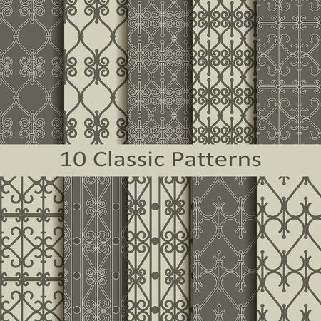 baroque gate: Set of ten classic patterns Illustration