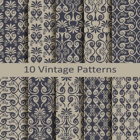 baroque gate: Set of ten vintage patterns