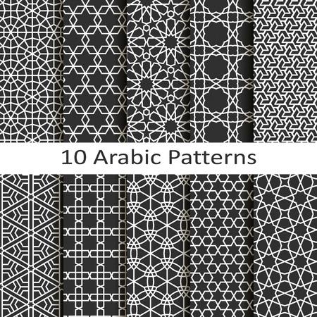 patrones de flores: Conjunto de diez patrones �rabes