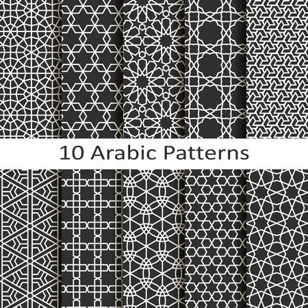 Set of ten arabic patterns Stock Illustratie