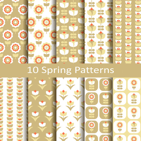 Set of ten spring patterns Stock fotó - 34872620