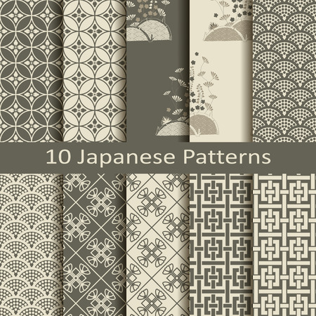 japanese pattern: Set of ten japanese patterns