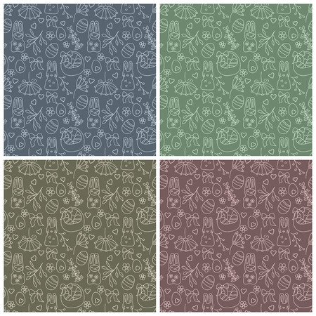 set of four seamless easter patterns Vector