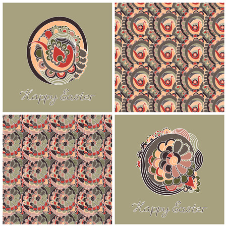 easter set with two backgrounds and two seamless patterns Vector
