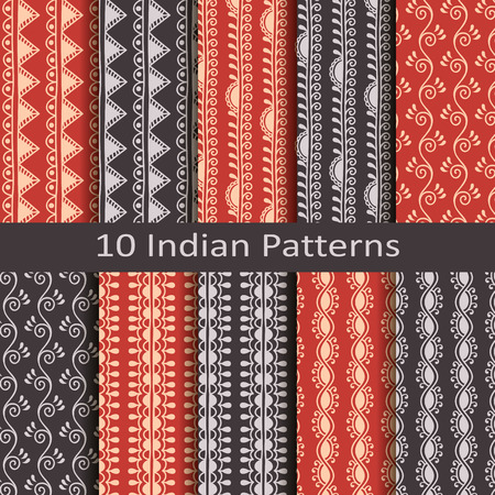 indianische muster: Set von zehn indischen Mustern
