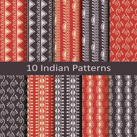 set of ten indian patterns Illustration