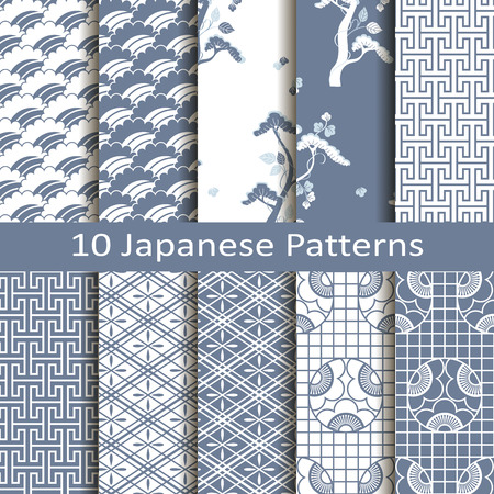 set pf ten japanese patterns