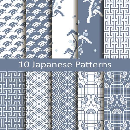 set pf ten japanese patterns Vector