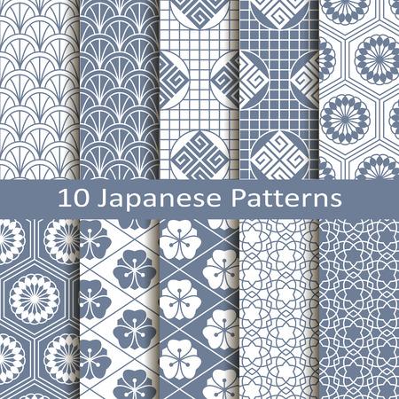 set of ten japanese patterns Vector