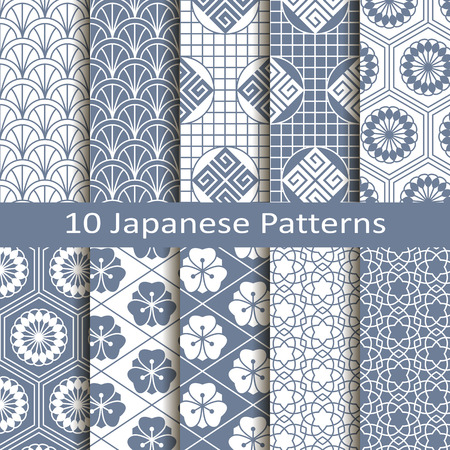 set van tien japanse patronen Stock Illustratie