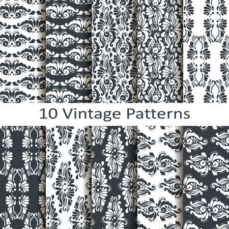 set of ten vintage patterns Vector