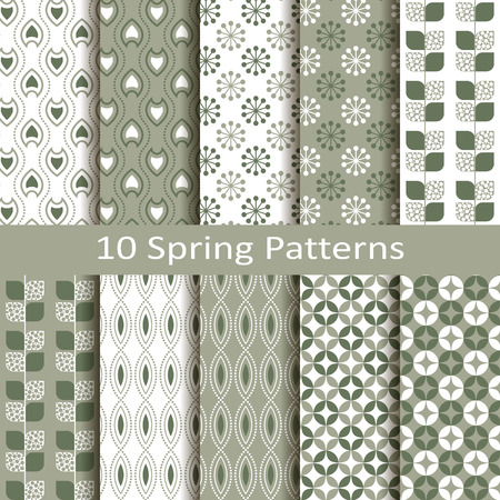 Set of ten spring patterns Vector