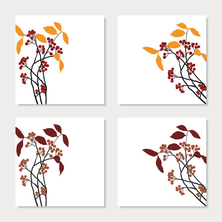 chokeberry: Set of four cards with red chokeberry branches Illustration