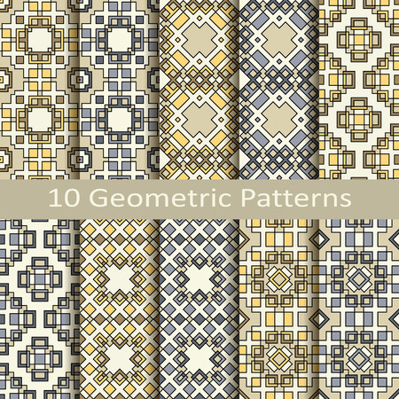 Set of ten geometric patterns Vector