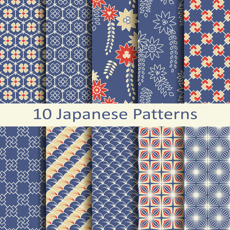 textile patterns: set of ten japanese patterns