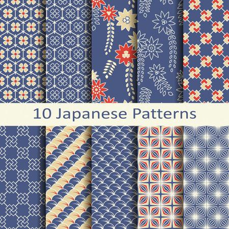 patrones de flores: un conjunto de diez patrones japoneses