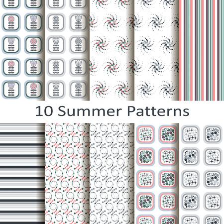 Set of ten summer patterns Vector